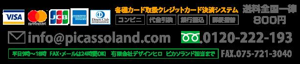 各種カード取扱クレジットカード決済システム 送料全国一律 800円 info@picassoland.com TEL.075-781-7091 FAX.075-721-3040 平日9時〜18時FAX・メールは24時間OK! 有限会社デザインヒロ ピカソランド担当まで